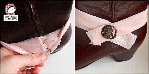 一款鞋子的布艺装饰DIY学习—简单的旧靴子改造
